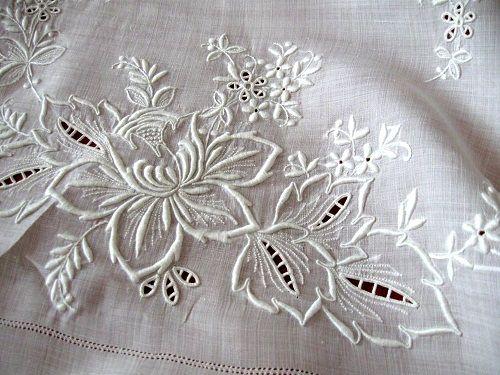Vintage Linen Whitework Tablecloth
