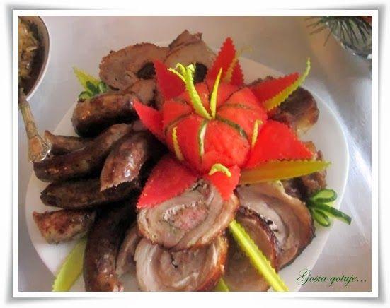 Gosia gotuje...: Pieczone mięsa: karczek, boczki, schab ze śliwką