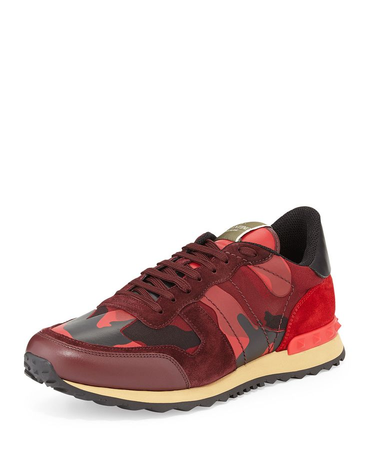 Red Valentino Men's Rockrunner Camo-Print Sneaker, Red, Size: 40.EU5/7.5D, Red Camo