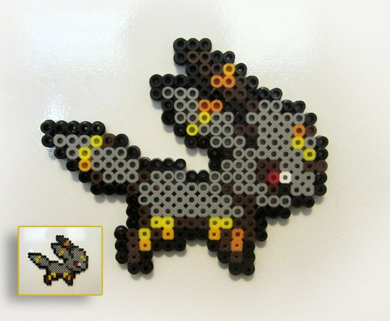 Umbreon Perler Bead Pokemon Sprite Magnet perler,hama,square pegboard,video games,nintendo,pokemon,