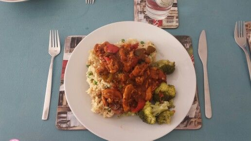 Slimming world Diet Cola Chicken, egg fried rice and broccoli