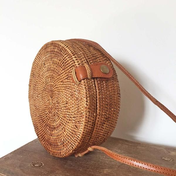 ROUND WOVEN BAG - Wood/Grey