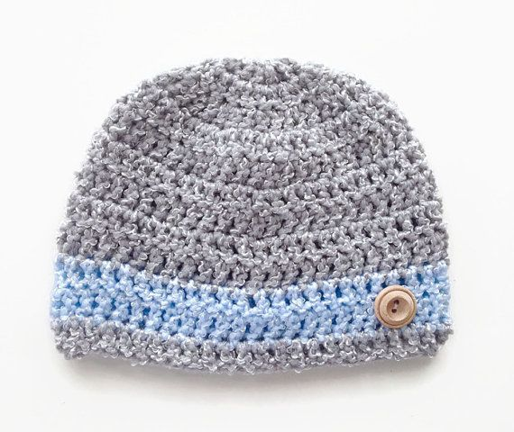 Grey and blue baby boy crochet hat baby shower by BabyBunnies4