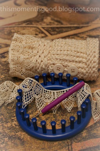 Wrist warmer on the blue kk loom, I love the idea of adding some lace...very pretty!