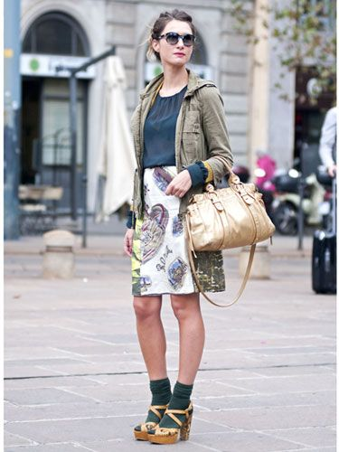 Fashion week street style Milan S/S 2013; love the socks and sandal heels