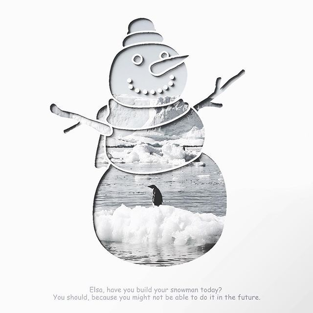 """Elsa, I think you should look for a new song, the ice is melting rapidly these days. Maybe """"Do you want to build a Sandman"""" would be more relevant in the future. . #creator #maker #crafter #entrepreneur #honestwork #infographic #infographics #meanincfographic #negativespace #typography #lettering #typeface #fonts #minimalism #lessismore #photooftheday #snow #winter #ice #melting #meltingice #globalwarming #warm #penguin #nature #minimalist #instanature #papercraft #snowman #frozen"""