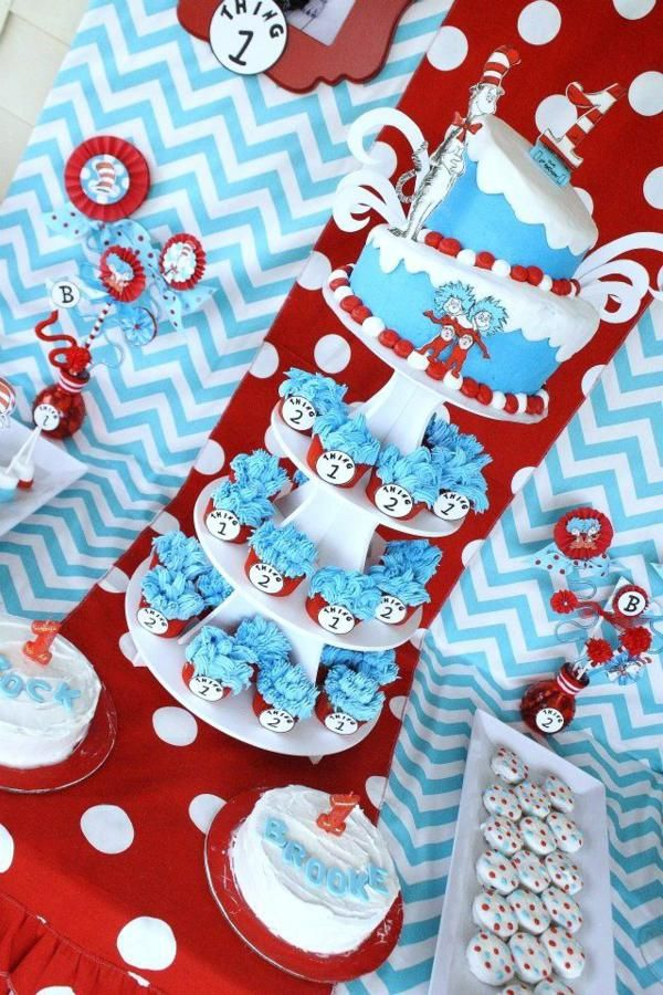 dr. seuss baby shower favors thing 1 and thing 2 | Thing One & Thing Two Dr Seuss Themed Birthday Party for twins via ...