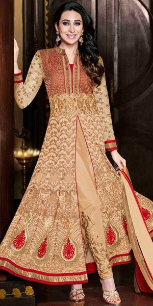 Cream Georgette And Shantoon Designer Full Length Anarkali Suit With Chiffon Dupatta.