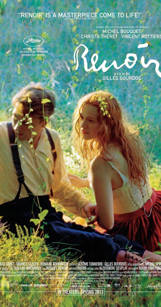 Set on the French Riviera in the summer of 1915, Jean Renoir -- son of the Impressionist painter, Pierre-Auguste -- returns home to convalesce after being wounded in World War I. At his side is Andrée, a young woman who rejuvenates, enchants, and inspires both father and son. Language: French  My rating 7/10