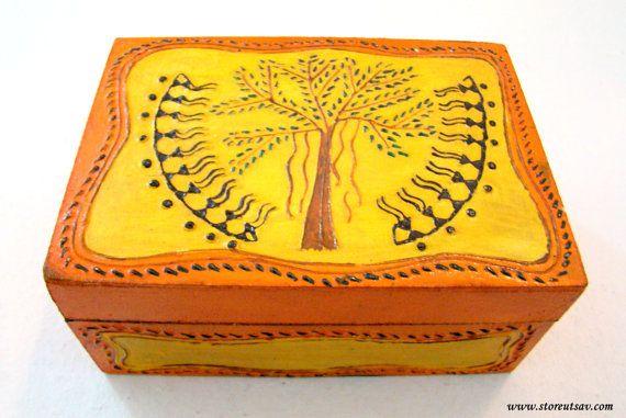 BOXES - Box with Tribal Warli Painting from Rajasthan West India by Store Utsav (www.storeutsav.com)