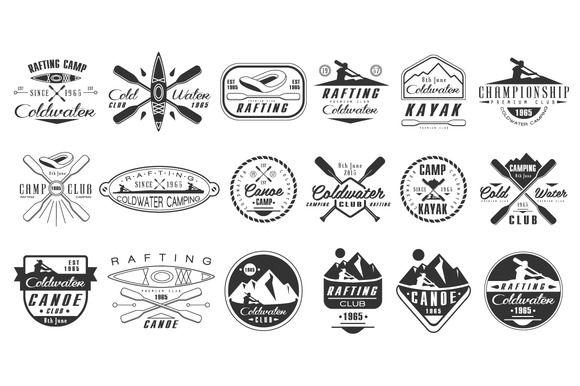 Kayak and canoe emblems by TopVectors on @creativemarket