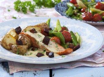 Stekt ørret med chorizo, grønnsaker og fiskesaus | Fru Timian