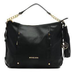 Michael Kors Large Chain Leather Shoulder Bag Black