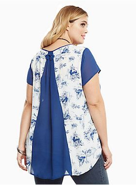"The sheer navy chiffon front on this Princess top is a bit sexier than you'd expect (but totally easily layerable). The faux split back is held in place by an aww-dorable bow, while the white chiffon insets have a gorgeous toile print of your fave Princesses.<div><br></div><div><b>Model is 5'10"", size 1<br></b><div><ul><li style=""LIST-STYLE-POSITION: outside !important; LIST-STYLE-TYPE: disc !important"">Size 1 measures 29 3/4"" from shoulder</li><li style=""LIST-STYLE-POSITION: out..."