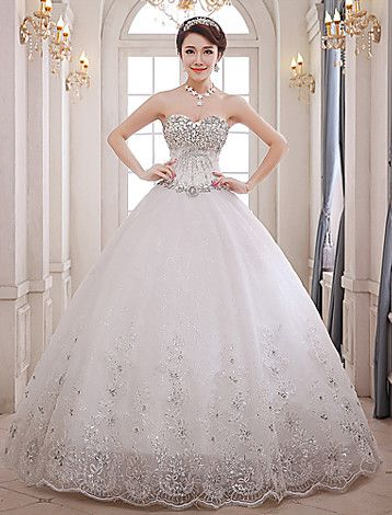 Ball Gown Sweetheart Floor-length Lace Wedding Dress (XS04) - USD $ 179.99