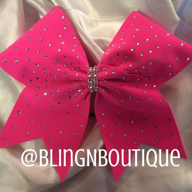 Get all blinged out with this neon pink cheer bow with 360 clear 3mm rhinestones. Search DaBling and check out all the other colors this is available in. Don't see your color? Click the Contact Us lin