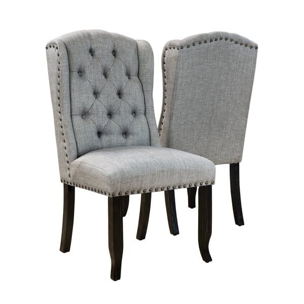 Furniture Of America Tays Rustic Linen Fabric Dining Chairs Set Of 2 Dining Chairs Furniture Antique Dining Chairs