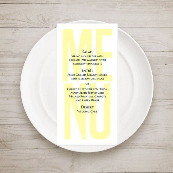 Modern menu template Yellow wedding menu diy by CardsForWedding