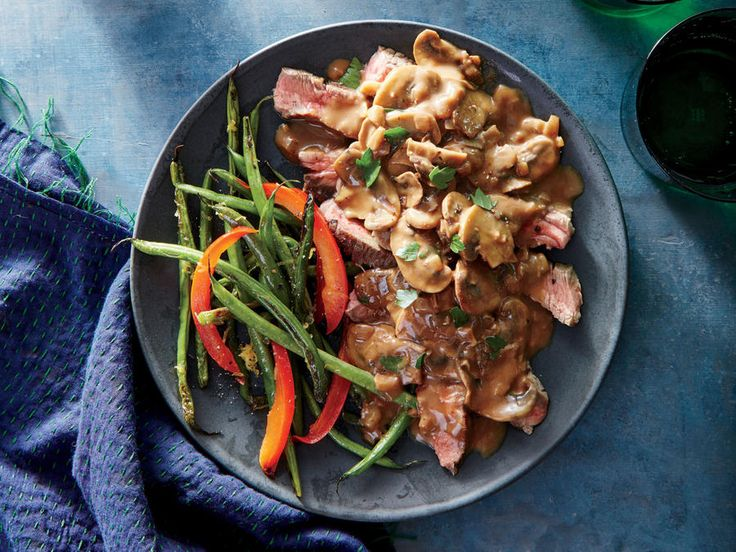 This dish was born in upscale American restaurants decades ago but couldn't be easier to make at home for a perfect, and wonderfully retro, date-night supper. While brandy is traditional in the sauce, you can substitute Madeira or dry white wine. The alcohol will cook off quickly, leaving smoky, caramel-like notes. Serve the steak with crisp, garlicky crostini: Drizzle 1 tablespoon olive oil evenly over 8 (1/2-ounce) slices whole-wheat baguette, and bake at 400°F for 10 minutes or until…