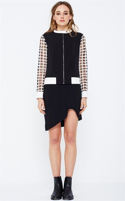 Ozsale - White Canvas Grid Biker Jacket by Lola Vs Harper. Price was $149.95 and is now $50!