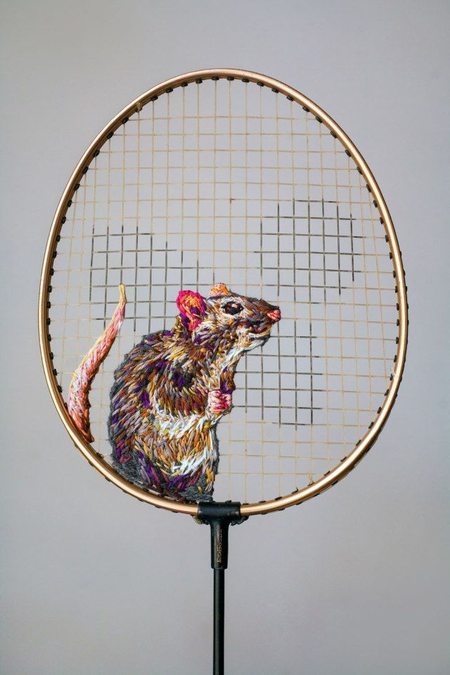 Embroidered Works on Rackets by Danielle Clough | The Dancing Rest https://thedancingrest.com/2016/05/11/embroidered-works-on-rackets-by-danielle-clough/