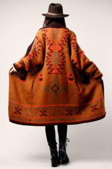 long native motif coat top hat boots orange brown style fashion clothes look cute