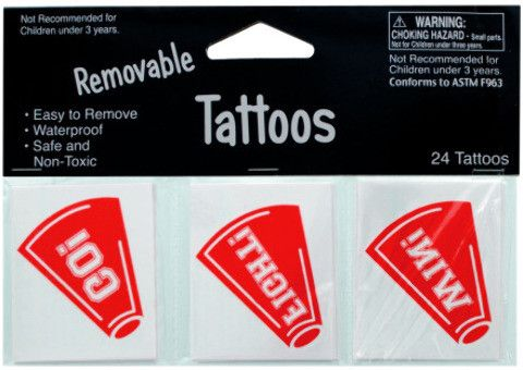 removable red cheer tattoos Case of 24