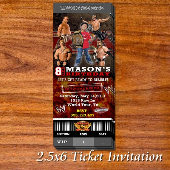 WWE Party Ticket Invitation by RedVelvetParties on Etsy, $19.99