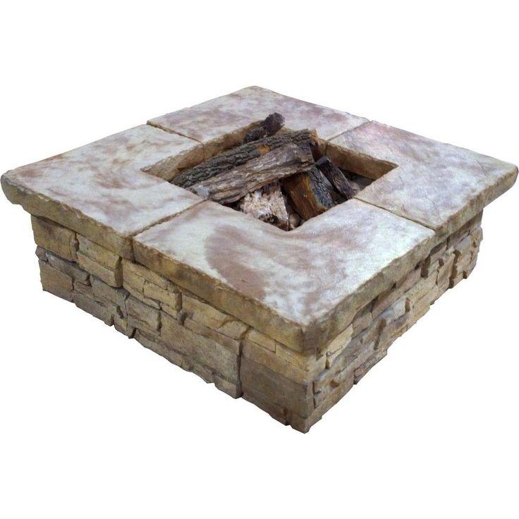 StoneBilt Concepts Telluride 44 in. Square Stacked Stone Fire Pit, Concrete/Natural Stone Texture