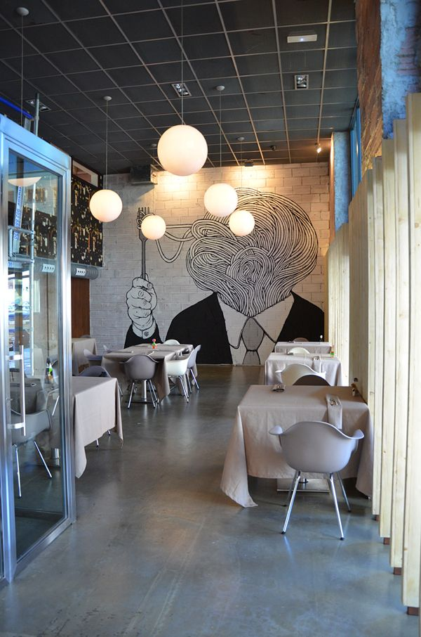 Seis Ocho Restaurant, Madrid, Spain by 3G Office Architects and Illustrator Santiago Morilla