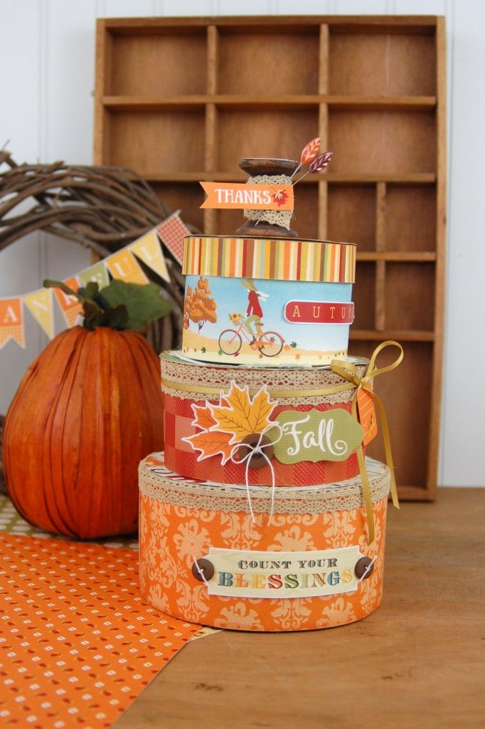 """Stacked boxes by Jen Gallacher featuring the """"Autumn"""" collection by #CartaBellaPaper"""