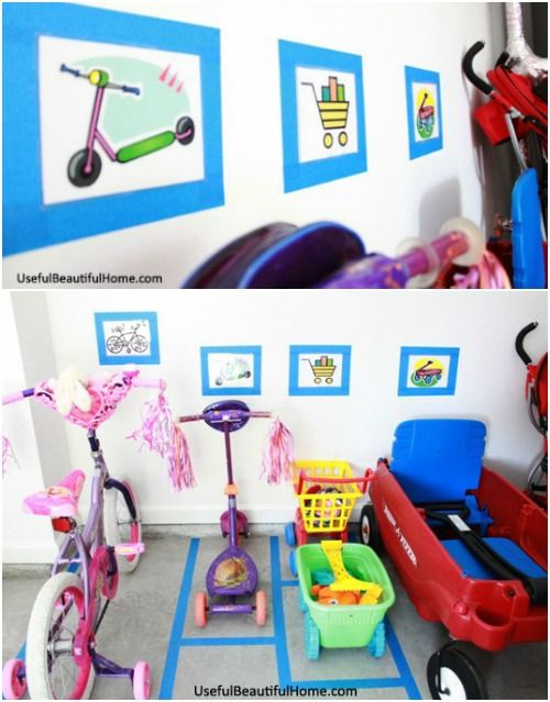 Garage Bike Parking Spots. Easy Garage Storage Solutions will help you organize your home. InspiringKonMari methods to stage and tidy your outdoor space including garage hacks