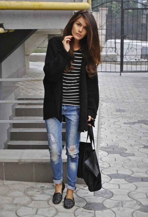 Black blazer, striped shirt, distressed jeans and sneakers. I have everything for this outfit idea. Love.