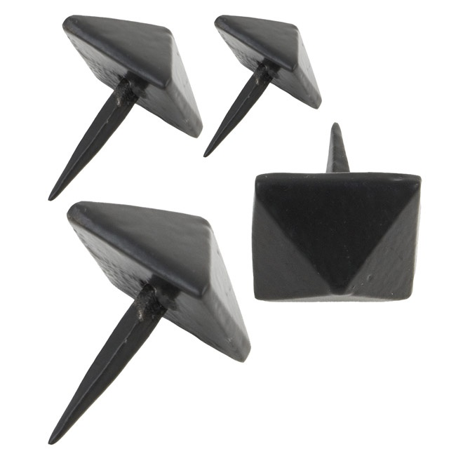 Traditional Blacksmith Pyramid Door Studs - These pyramid door studs are made from hand-forged iron. They are a high quality product, with a black finish and hand forged using traditional English blacksmithing methods.