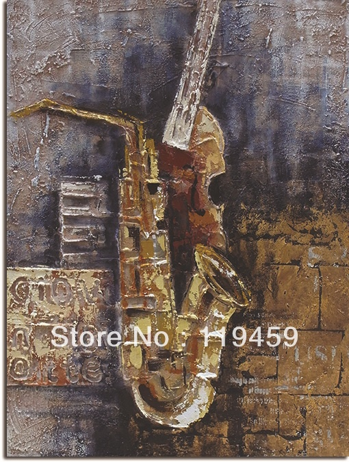 Aliexpress.com : Buy Hand made saxophone canvas painting wall art for home decor I NO frame NO stretcher from Reliable large oil painting suppliers on Vetaland $65.00 - 88.00