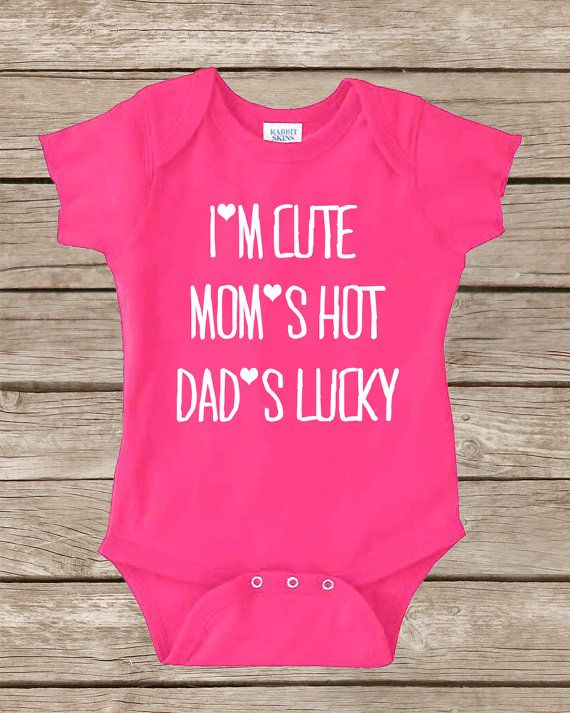 Funny Baby Onesie - Cute Onesie Girl Boy - Baby Shower Gift Girl - Funny Onesies - Toddler Clothes - I'm Cute Mom's Hot - 1st Birthday Onsie on Etsy, $14.00