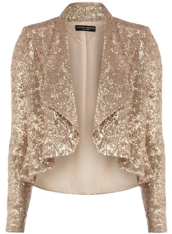 I love the holidays for so many reasons, one of which is that I have occasion to wear things like this.  rose gold sequined jacket $89