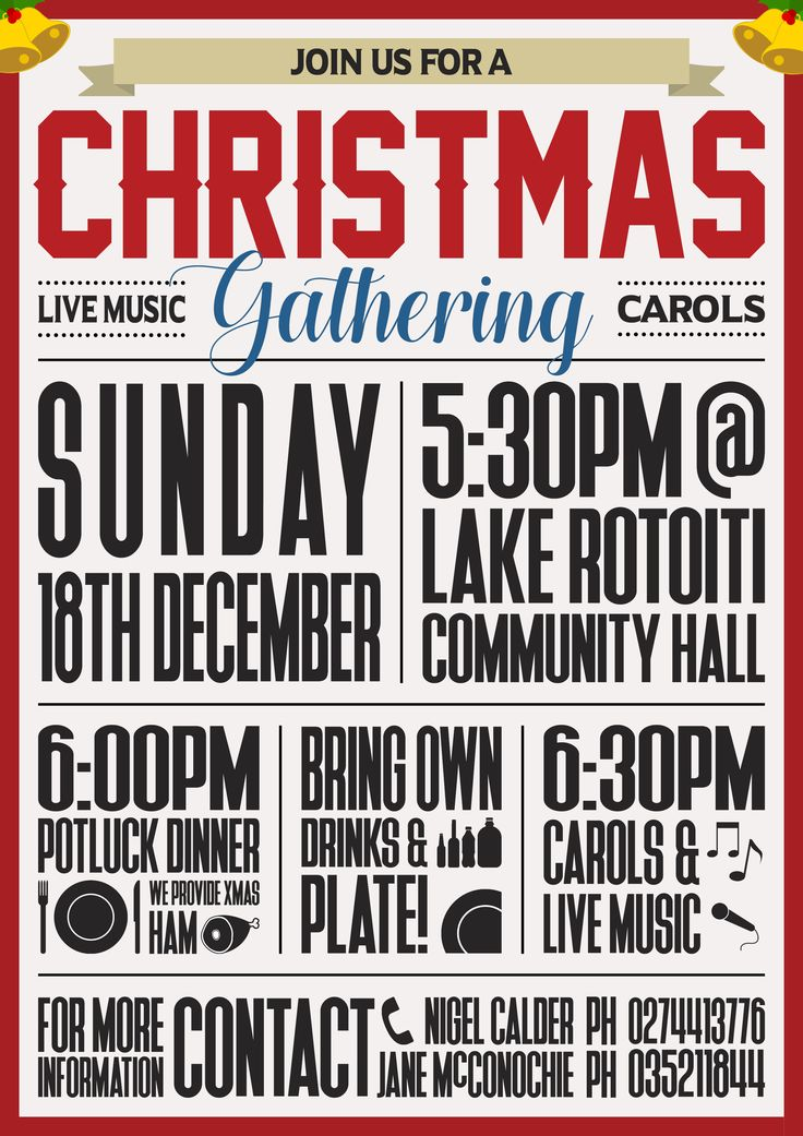 Christmas Gathering event flier designed through the services of War Cry Studios.