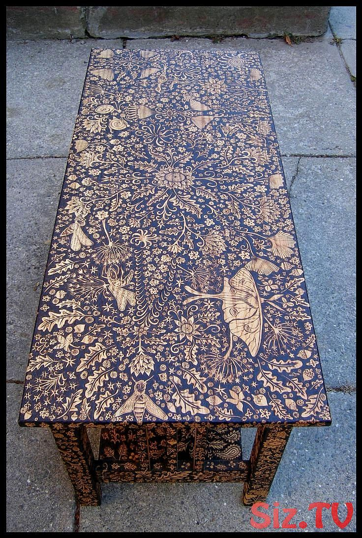 Wood Burned Coffee Table By Cecilia Galluccio Wood Burned Coffee