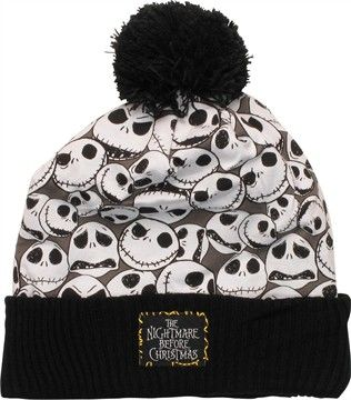 Stay warm this holiday season when you wear this attention-grabbing Nightmare Before Christmas beanie! The Nightmare Before Christmas Jack Collage Cuffed Pom Beanie is white with a black pom on top and a black ribbed cuff.