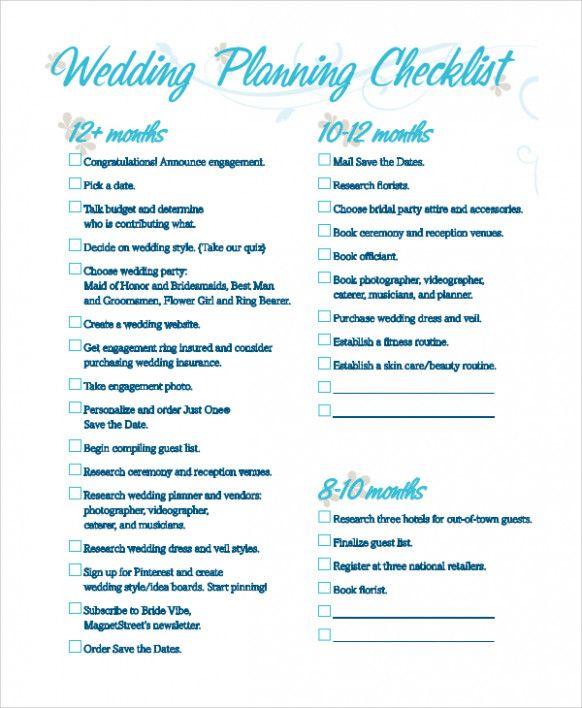 Sample Wedding Checklist \u2013 8 Examples in PDF wedding decor