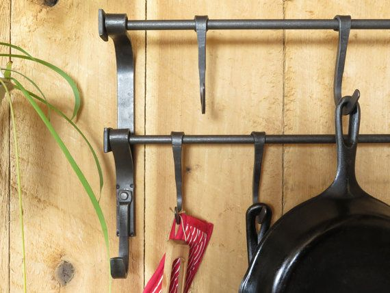 360 but perfect Kitchen Pot Rack, Craftsman Style, Kitchen Organization, Rustic Kitchen Decor, Wall Pot Rack, Pot and Pan Rack, Country Home Decor, Lodge