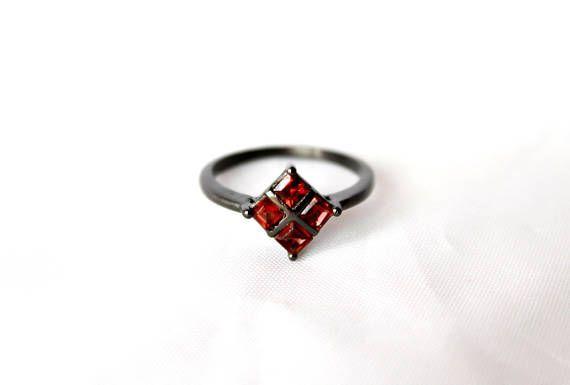 Dark red gemstone ring Oxidized sterling silver garnet ring