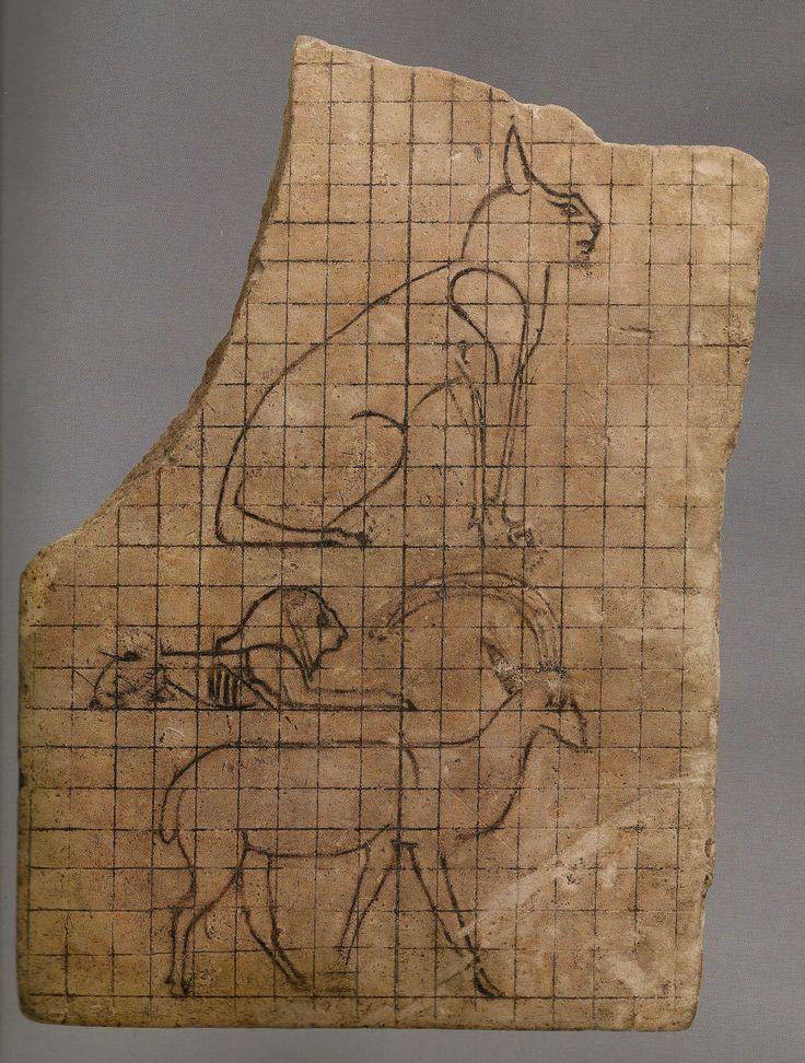 Plaque avec mise au carreau : chat, lion et bouquetin - calcaire - 26e- 30e dyn - 664-332 av JC.  L'art du contour - Le dessin dans l'Égypte ancienne.