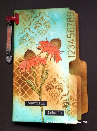 Redanne: Manila file mini album for Inspiration Journal using Tim Holtz, Ranger, Idea-ology, Sizzix and Stamper's Anonymous products; May 2015