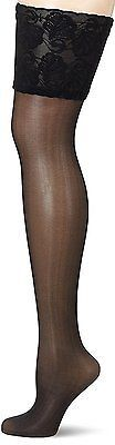 XXX-Large, Black, GLAMORY Women's Deluxe Hold-up Stockings, 20 Den NEW