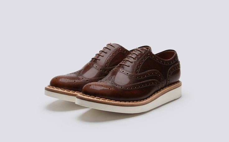 Mens Oxford Brogue in Toffee Crackle Rub Off Leather with a White Wedge Sole | Stanley | Grenson Shoes - Three Quarter View