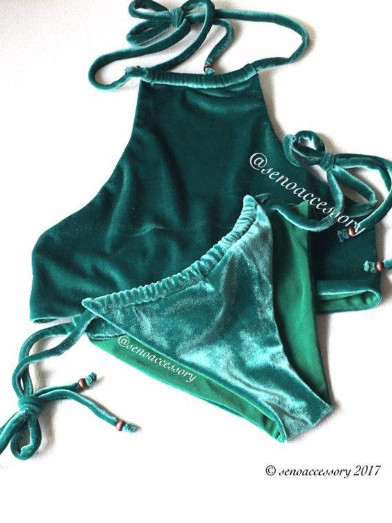 Velvet Bikini Halter Bikini Set Brazilian Bottom by senoAccessory #swimwear #velvetbikini #bikini #swimsuit