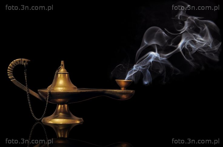 Objects photos (lamp, olive-oil lamp, Aladdin's lamp, smoke). Online sale of photos for graphic projects, calendars, postcards, wallpapers, Internet, etc.