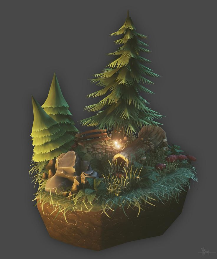 Low poly Forest Scene (handpainted) - Polycount Forum